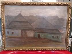 Góth M. szignóval parasztházak témájú festmény