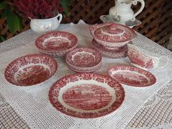 Jelenetes Angol porcelán , fajansz étkészlet