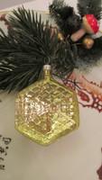 Régi figurális üveg karácsonyfadísz  sárga ékkő