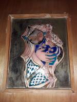 Turi Endre - Nő kakassal - tűzzománc kép eredeti, jelzett, hibátlan