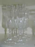 6 db-os Ünnepi gyönyörűen csiszolt kristály pezsgős pohár készlet