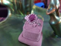 Rubinos - brilles fehér arany csodaszép gyűrű