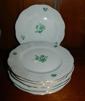 Herendi zöld festésű süteményes tányérok 6 db