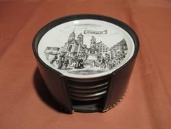 Porcelán poháralátétek műbőr tokban Stuttgarti városképpel