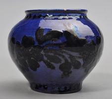 Hódmezővásárhelyi majolika kobalt kék váza, HMV CS I  ( Csenki ) . 1930-as évek.