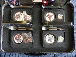 2014 Niue 4x1$ The Avengers - Marvel - 4x1 uncia tiszta ezüst színezett érme speciális fémkofferben