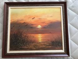 Bán Tibor csodálatos naplementéje olajfestmény