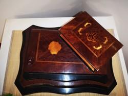 Rejtett fiókos fa intarziás könyv doboz, tároló