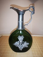 Álomszép ón és üveg különleges Tokaji Karaffa, kiöntő