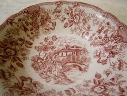 F_041 Ironstone jelenetes Angol porcelán mély tálaló tál, tányér pink