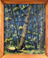 Gyurkovits szignóval, Erdőrészlet olaj festmény
