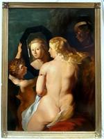 Rubens Pieter Paul (1577-1640) után XIX. sz első fele  HIHETETLEN OLAJ FESTMÉNY : VÉNUSZ A TÜKÖRBEN