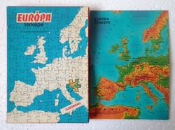 Régi 1982-es kiadású ritka Európa térképe 176 db-os összerakó játék puzzle kirakó