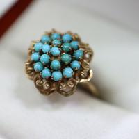 Antik türkiz köves 14kr.gyűrű különlegesség