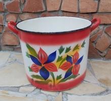 Ritka virág mintás nagyméretű 32*39 cm-es fazék, Gyűjtői darab