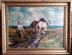 """Sinkó Károly (Bp. 1910- Bp. 1967) """"Szántás"""" 67x90cm, olaj/vászon, művész jelezve jobbra lent"""