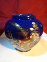 Japán porcelán, kobalt kék alapon mintás tea tartó, magassága 9,5 cm.