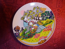 ROSENTHAL  német minőségi porcelán falitányér, almaszedők, átmérője 19,5 cm.