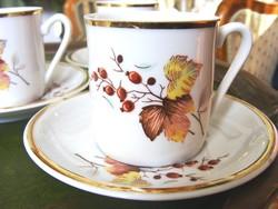 Ritka! Hollóházi mokkás, kávés készlet, őszi mintás dekorral
