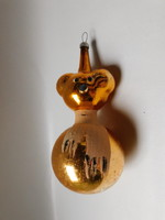 Régi üveg karácsonyfadísz - mackó sállal