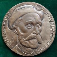 Kákonyi István: Csontváry, bronz plakett, dombormű, relief, kisplasztika, 134 mm