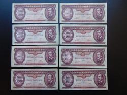 8 darab 100 forint 1949 Rákosi címer LOT !  Szép ropogós bankjegyek
