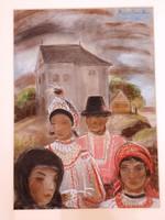 RÓNA KLÁRA 1901 - 1987 Templomba menő sokácok-