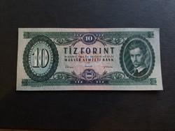 Hajtatlan 10 Forint 1962 Ef., jobb fölső saroknál papírtörés.