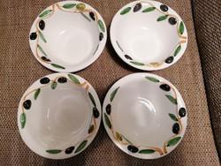 4 db olasz, kézzel festett leveses tányér, olivabogyós mintával, olasz jelzéssel