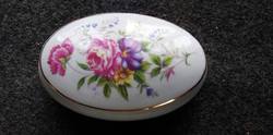 Hollóházi porcelán virágmintás doboz, ékszertartó