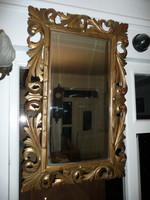 Gyönyörű, nagyon régi, antik, faragott nagy vastag FLORENTIN fali tükör az eredeti csiszolt tükörrel