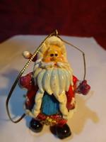 Porcelán figura, pocakos mikulás, karácsonyfa dísz, magassága 6 cm.