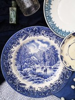Churchill England  fajansz vacsorázó tányér, kék-fehér téli jelenetes
