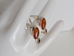 Borostyán köves ezüst gyűrűk, 2 db együtt, vagy külön is