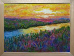 Moona - Napnyugta a folyó parton EREDETI pasztell festmény