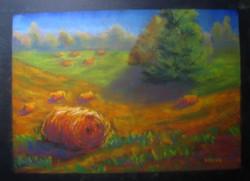 Moona - Szénabálák EREDETI pasztell festmény