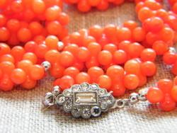 Régi  valódi narancs korall nyaklánc 925 ezüst kapoccsal