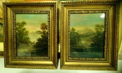 2 db XIX századi festmény párban.22x19 cm + keret