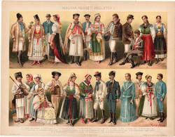 Magyar nemzeti viseletek I., 1896, színes nyomat, eredeti, régi, kalotaszegi, erdélyi szász, székely