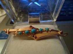 Antik arany medál / türkiz, rubin