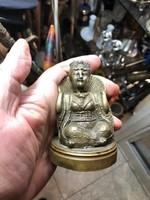 Buddha fém szobor, 10 cm magasságú, kivehető fejrésszel.