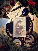 Antik karácsonyi képeslap hölggyel