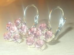 Rózsaszínű kristály köves Virág Tibeti Ezüst Fülbevaló Franca modell
