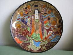 Japán Satsuma dísztál csodálatos színekkel és díszítéssel.
