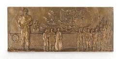 1C900 Kiss István : A tanácsköztársaság kikiáltása bronz plakett 13 x 30.5 cm 1978