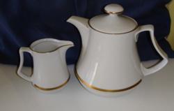 Henneberg porcelán arany szegélyű teás- kávés kanna,kancsó  tej-tejszín kiöntővel