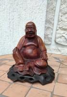 Faragott Szerencse hozó  nevető ,mosolygó Buddha faszobor, élethű régi különleges faragás!