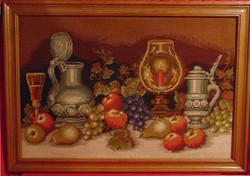 Csendélet gyertyafénynél - nagy méretű gobelin kép hatalmas, vastag keretben (60-as évekből)