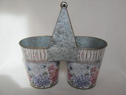 Vintage fém pléh hortenzia mintás 2-es virágtartó kaspó