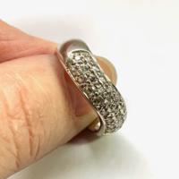Ezüst karika gyűrű, elöl körben sok ragyogó cirkon kő 925 ezüst 18mm